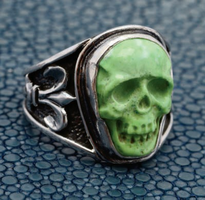 Lee Downey's Carved Skull Ring. Sterling silver, turquoise. Photo courtesy of Lee Downey.