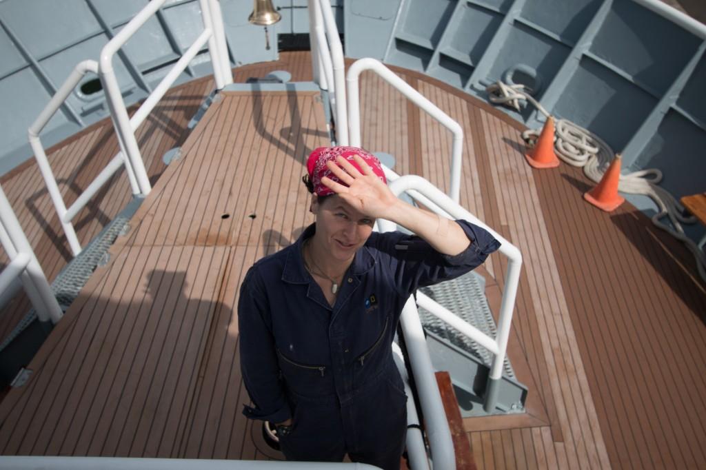 Sarah aboard ship. Photo by Garland Sutton