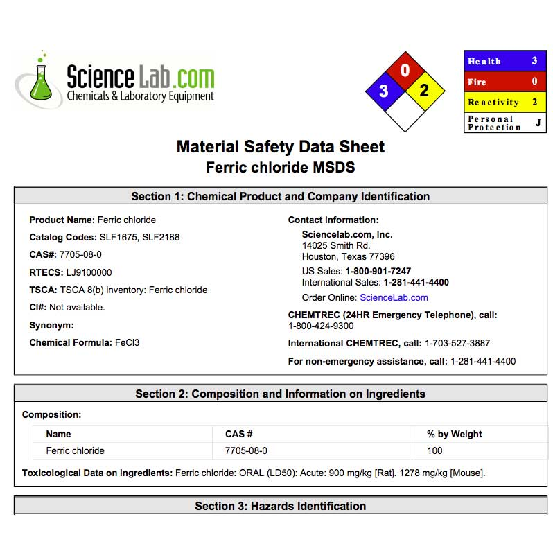MSDS ferric chloride jewelry studio