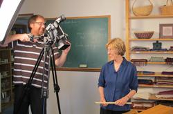 Handwoven editor Madelyn van der Hoogt filming a new weaving video.