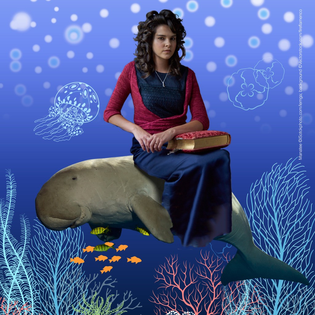 Erm . . . a very serious model takes her seat on the manatee. She's wearing Susan Crawford's Surplice. Manatee ©iStockphoto.com/lemga; background illustration ©Vectorstock.com/fireflamenco