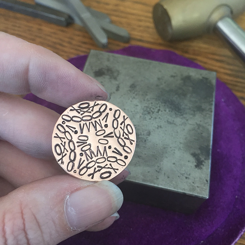 Metal Stamping Mandalas with letter stamps