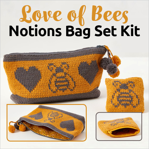 Love of Bees Notions Bag Set Crochet Kit