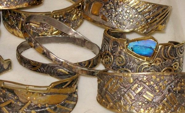 Marne Ryan's textured metal cuffs