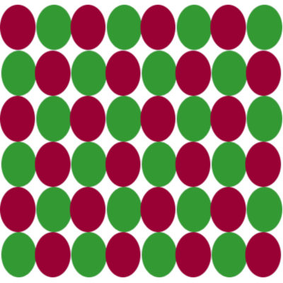 green beads intensify red beads; red beads intensify green beads