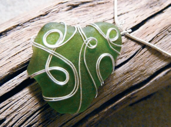 sea glass wire wrapped pendant by Meg Carter
