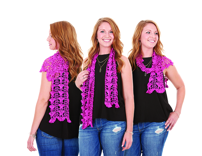 A crochet scarf is the perfect way to dress up a t-shirt and jeans.