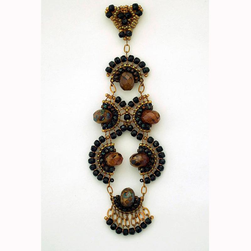 Teresa Meister Fandango pendant - seed beads, Czech beads, chain links