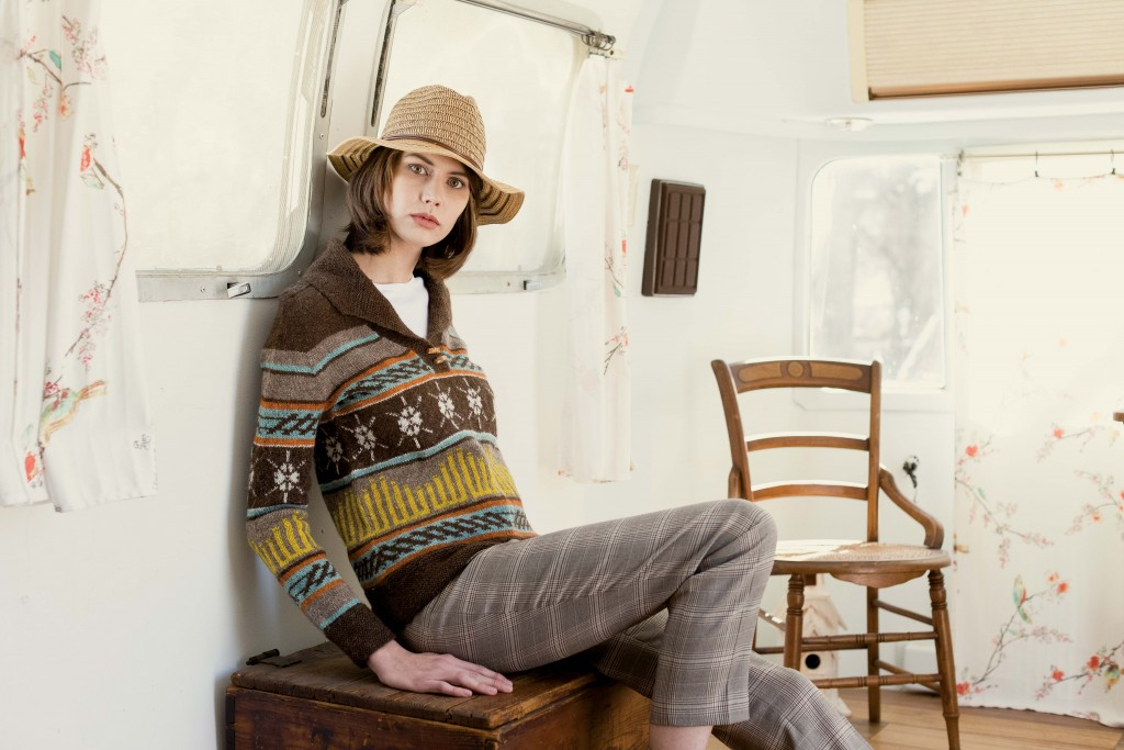 Beautiful color knitting in the Magic City Henley pullover knitting pattern!