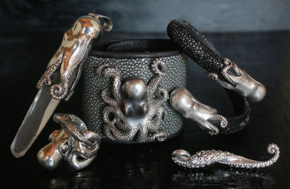 Octopus Jewelry Collection by Momo Mercurious. Sterling silver, leather. Photo courtesy of Mercurious Designs.
