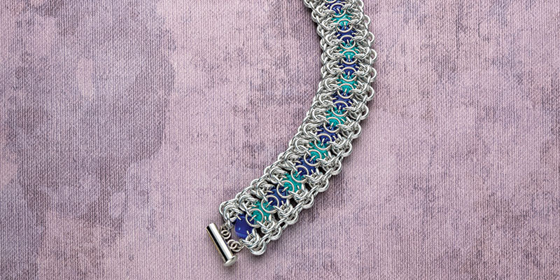 Circles and Squares Beaded Chain Maille Bracelet by Michelle Brennan