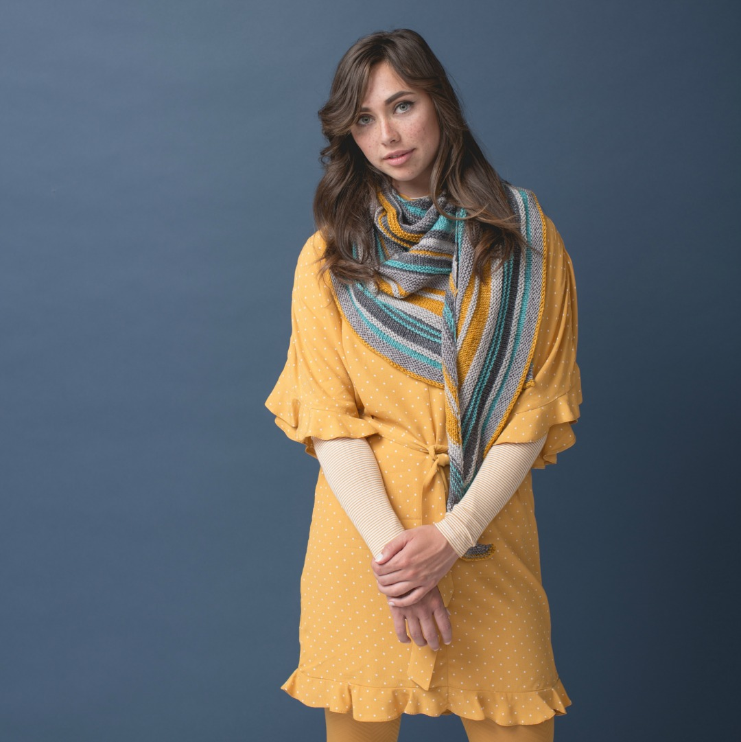 The Millcroft Shawl is sure to become your favorite knit shawl this winter.   Photo by Harper Point Photography