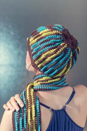 Back of Crochet Beanie Mirage Hat