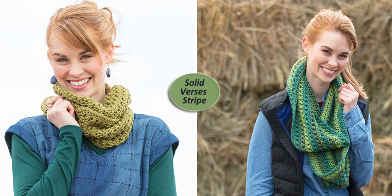 Solid Verses Striped Yarn—1 Cowl 2 Ways or More