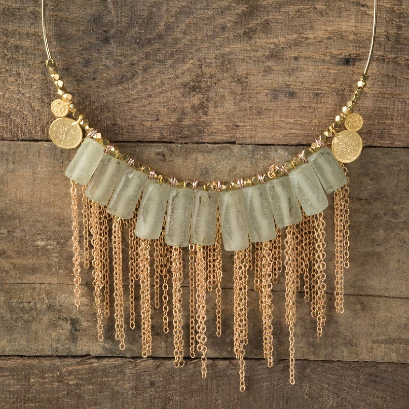 chain fringe, coin, and beads on wire collar necklace by Anne Potter