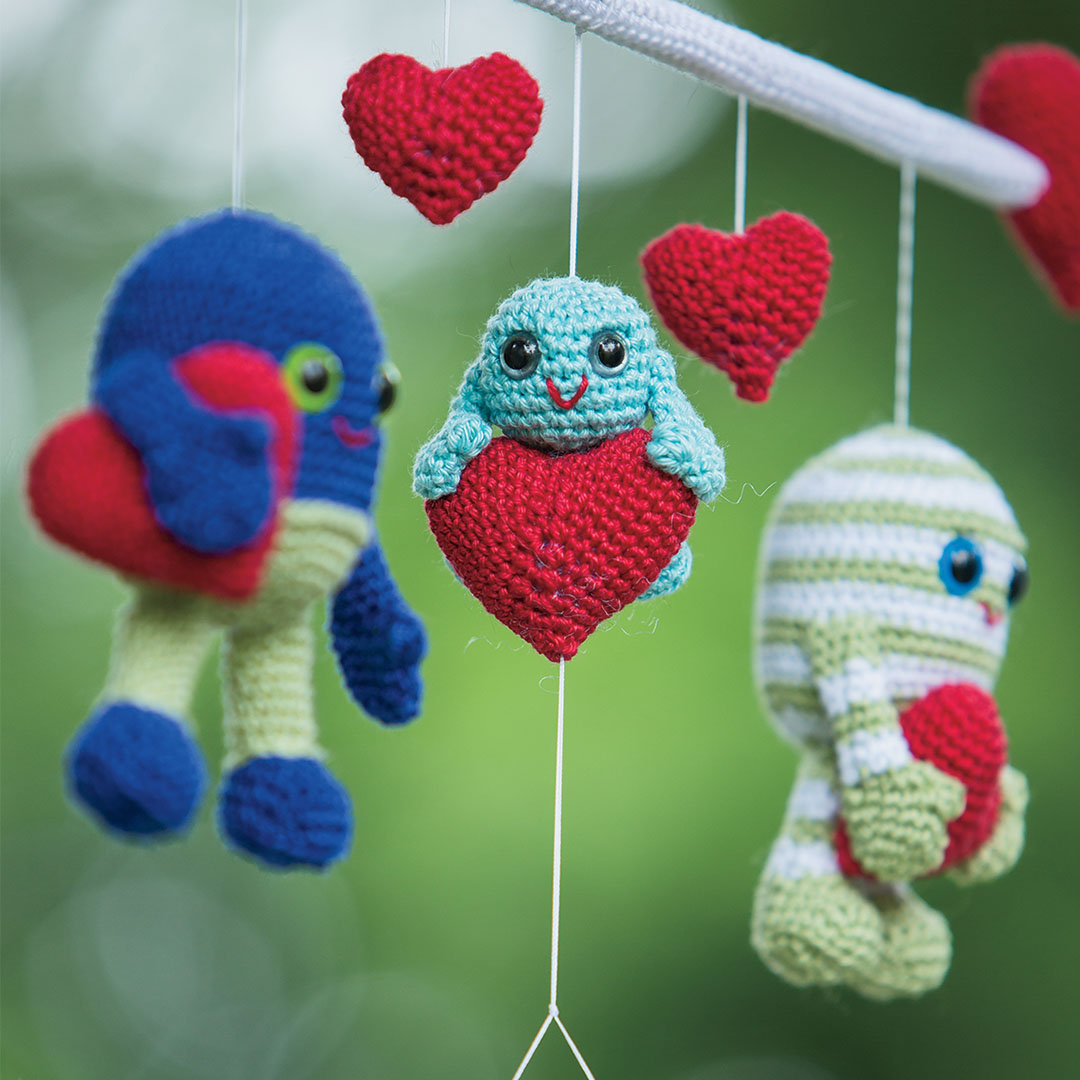 The Monster Love Mobile from Interweave Crochet Home 2015 CREDIT: Harper Point Photography