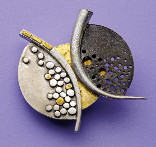 making brooches: Mosaic Metal Clay Pin by Patrik Kusek