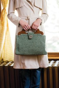 Kathy Augustine's carpetbag-style knitting bag that accompanies her article on the Nancy Drew mystery series. Photo by Joe Coca.