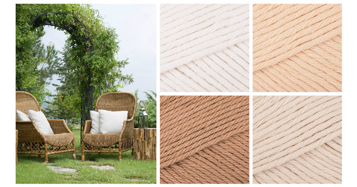 A room with natural colors needs a Mandala Cushion in champagne white, light caramel, soft fudge, and vanilla cream.   Photo Credit: Pixabay and Paintbox Yarns