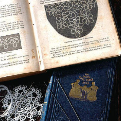 The Ladies' Work-Table Book (1843) and The Ladies' Handbook of Fancy and Ornamental Work (1861). Both contain instructions for needle tatting, but the technique described was actually a description of shuttle tatting, using a needle in place of a shuttle. Collection of Barbara Foster. Photo by Joe Coca.