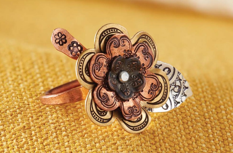 flower jewelry: Flower Ring from New Stamped Metal Jewelry by Lisa Niven Kelly and Taryn McCabe