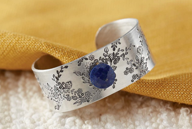 flower jewelry: Garden Cuff from New Stamped Metal Jewelry by Lisa Niven Kelly and Taryn McCabe