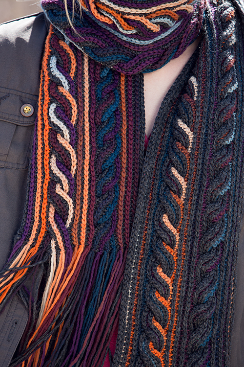 Details Shot of Obion Scarf Crochet Cables