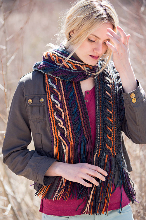 Obion Scarf with Crochet Cables