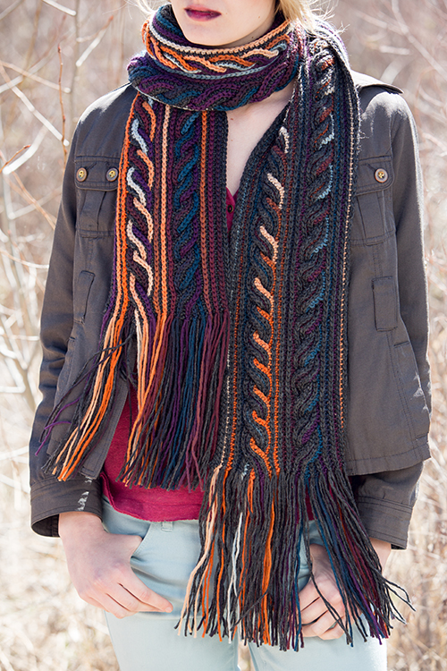 Obion Crochet Scarf with cables in crochet