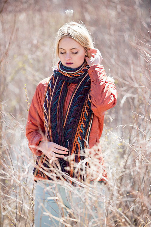 Obion Crochet Scarf with Cables