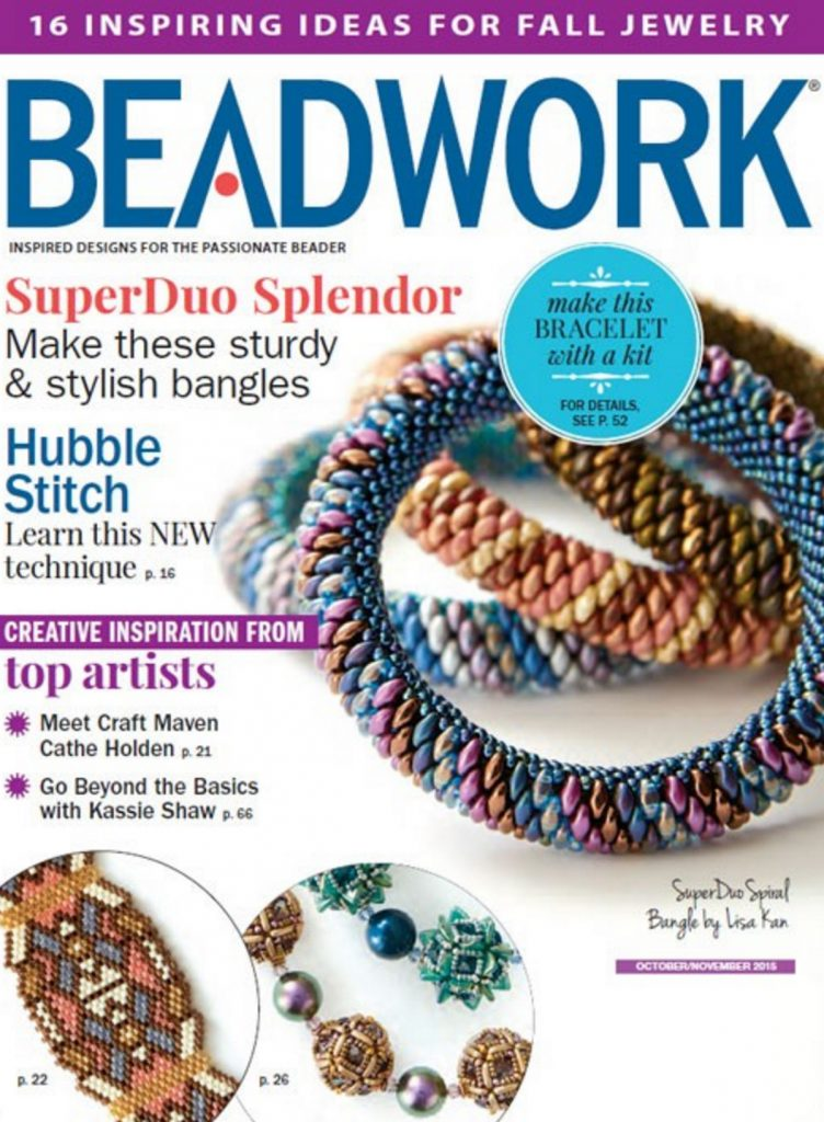 Beadwork magazine, October/November 2015, Lisa Kan bangles on cover