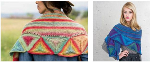 Vanessa Ewing's Ojo de Dios Shawl in the Southwestern  colorway, left, and the jewel-tone colorway, right.