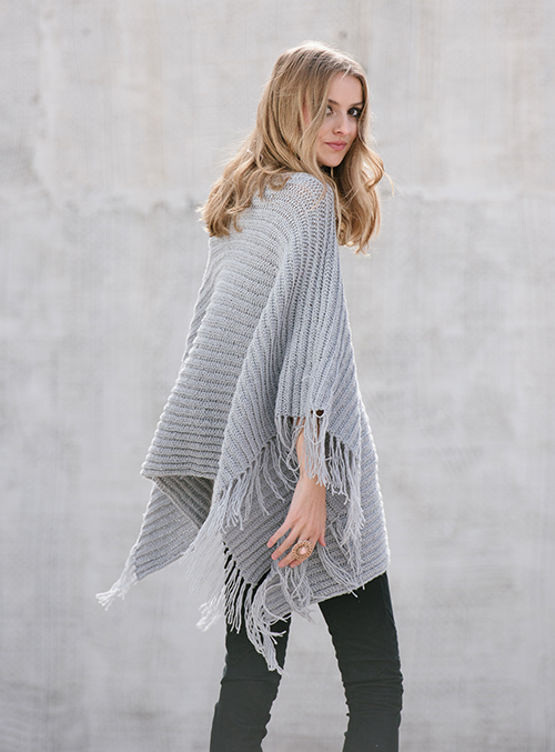 Back view of On the Fringe Crochet Poncho
