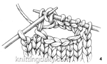 knitted Stitch One-Row Buttonhole fig 4