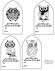 Free Owl Crochet Gift Tags