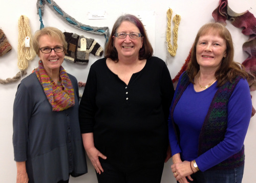 Peachtree Handspinners Guild copresident Janet Metzger, cofounder Paula Vester, and treasurer Kim Wall. Photo courtesy of the Peachtree Handspinners Guild.