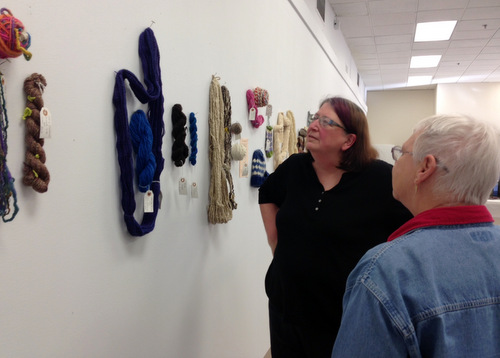 Founding member Paula Vester and current copresident Annie Hall. Photo courtesy of the Peachtree Handspinners Guild.