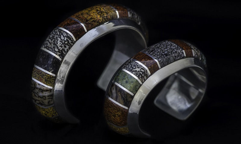 his and hers cuffs by Peggy Houchin, gemstone inlay jewelry artist
