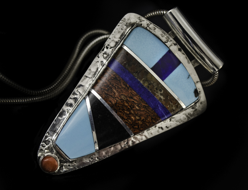 pendant by Peggy Houchin, gemstone inlay jewelry artist
