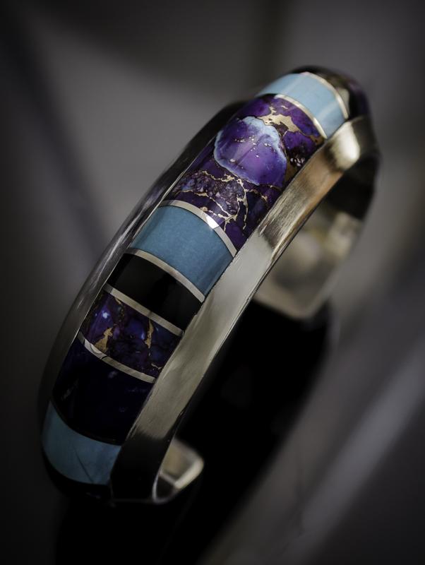 cuff by Peggy Houchin, gemstone inlay jewelry artist