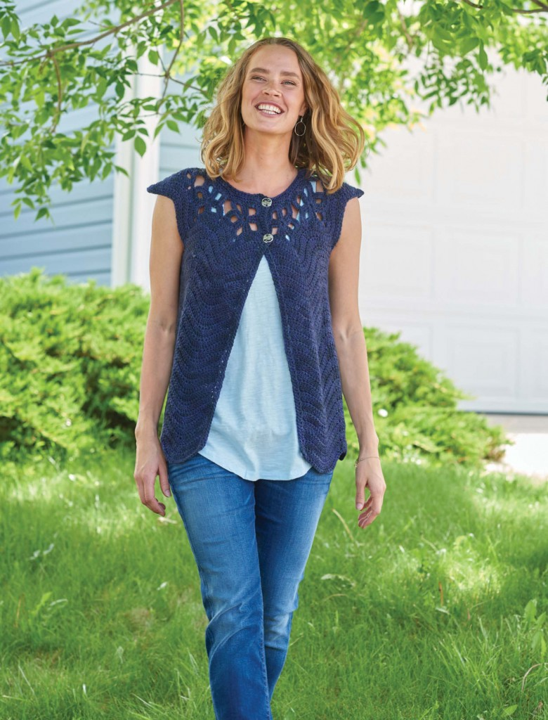 Twilight Skies Pentagon Motif Yoke Cardigan, Continuous Crochet by Kristin Omdahl