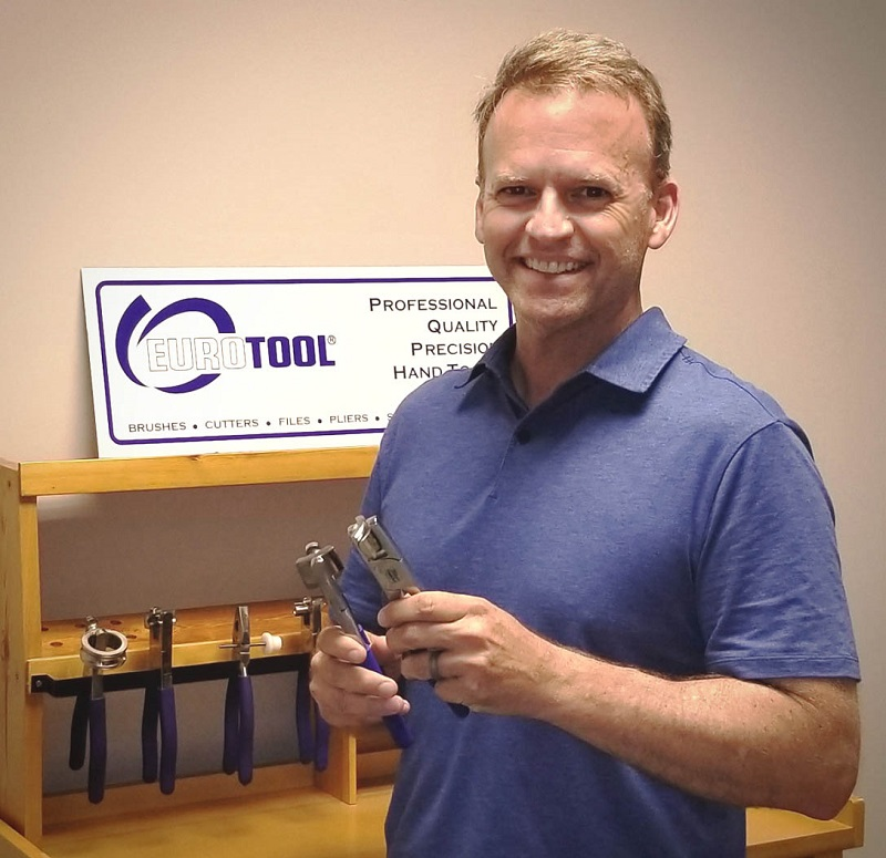 Peter Murphy displays other pliers and jewelry tools in the Miland line.
