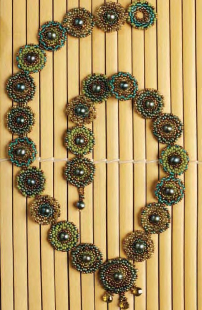 Make this flat circular peyote stitch necklace in this FREE beading eBook.