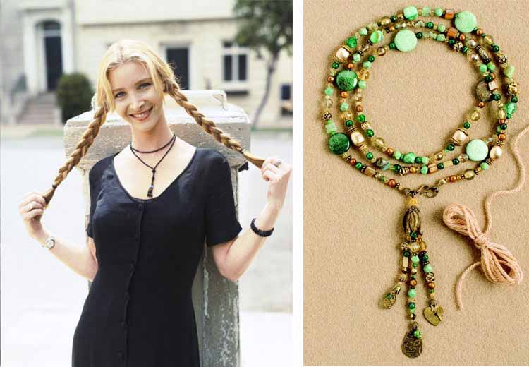 Jewelry Trends Report and Free Beaded Choker Necklace Projects. Pheobe Buffay will forever be in the hearts and minds of American TV viewers. Make and wear the Greensleeves wrap choker in tribute to her optimism and spunk.