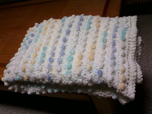 Crocheted Baby Afghan With Bunny Tail Yarn And Half Double Crochets