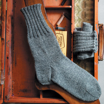 "This handsome men's sock, with the cozy and inviting name ""Plain Winter Sock,"" uses a Dutch Heel and Wide Toe."
