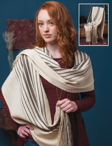 Cream shawl with brown accents and fringe