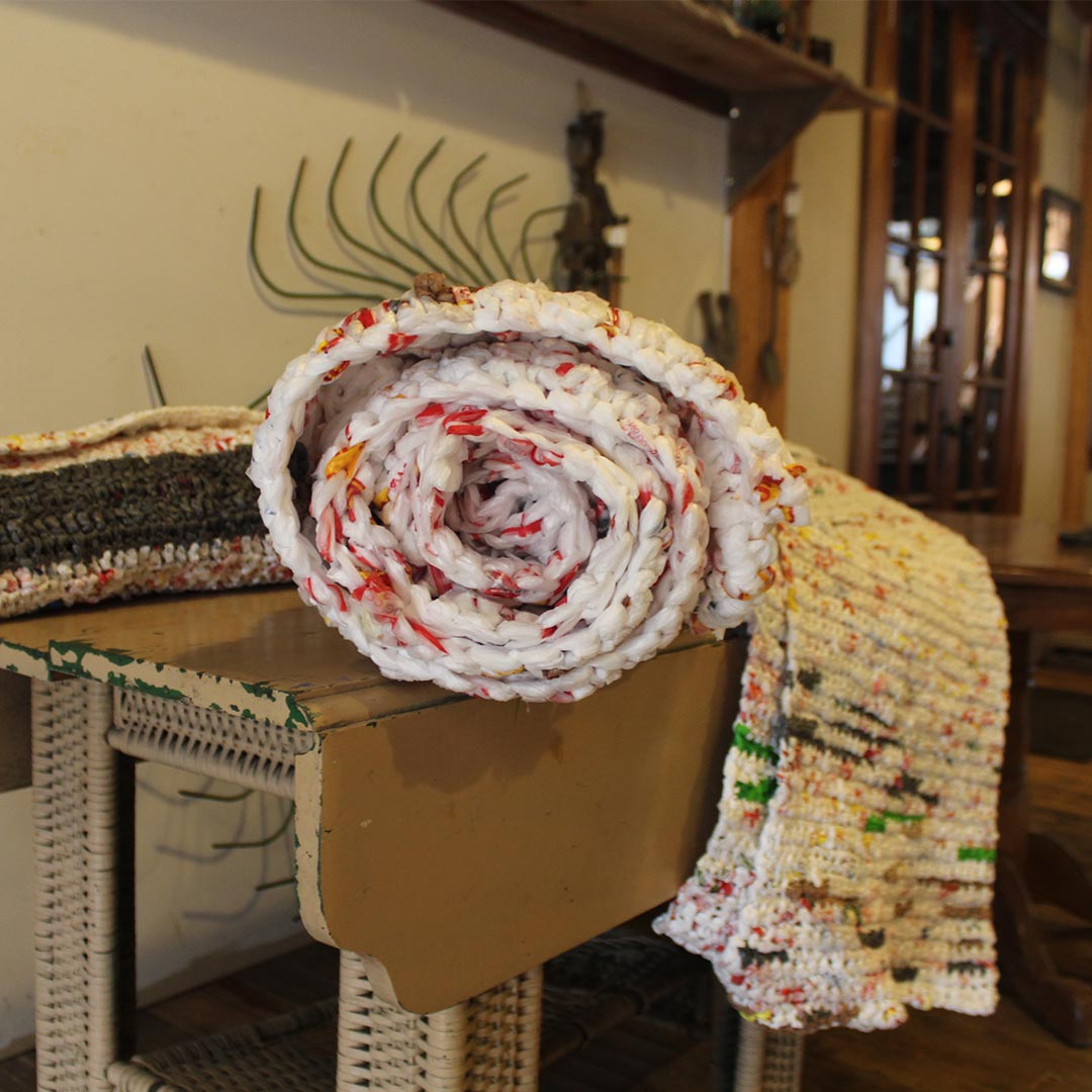 It can take upward of 1,500 plastic bags to make one mat. | Photo Credit: Shelene Codner