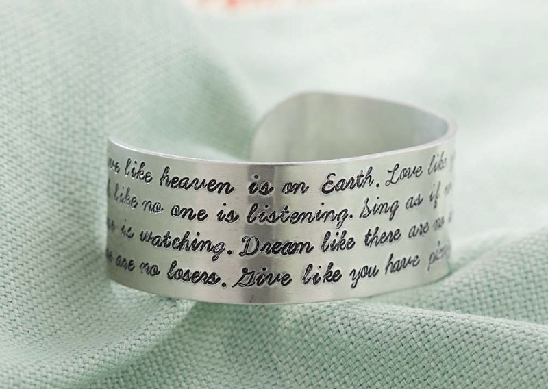 metal stamped cuff with a quote or Bible verse