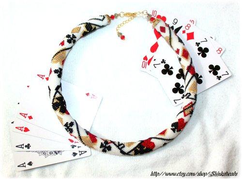 Poker Cards Pattern Bead Crochet Necklace Interweave